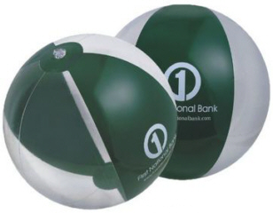 Personalized Forest Green/Clear Beach Balls & Custom Printed Forest Green/Clear Beach Balls