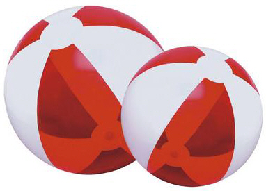 Personalized Translucent Red/White Beach Balls & Custom Printed Translucent Red/White Beach Balls