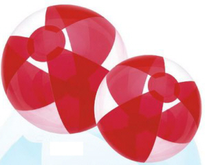 Personalized Translucent Red/Clear Beach Balls & Custom Printed Translucent Red/Clear Beach Balls