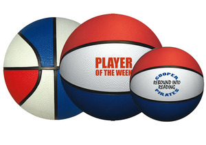 Personalized Basketballs & Custom Logo Red/White/Blue Rubber Basketballs
